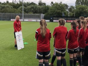 Elise Hughes at FAW Trust UEFA B coaching course at Newport, South Wales